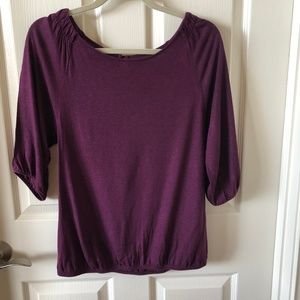 LOFT Grape Top with elastic and gather at shoulder